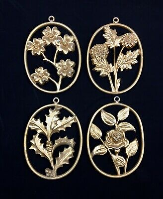 4 Mid Century Sexton Metal Craft Wall Plaques Gold 3D Hollywood Regency Floral