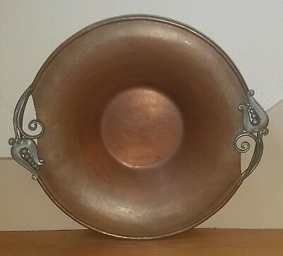 "Vintage NEKRASSOFF Hammered Copper Pewter 14.5"" Bowl Arts & Crafts Stickley Era"