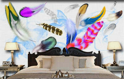 Colorful Feather Full Wall Mural Photo Wallpaper Printing 3D Decor Kid Home