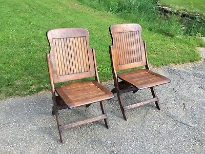 Pair of Vintage Heywood Wakefield Wood Slat Folding Bench Chairs Mid Century