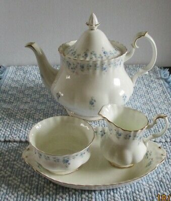 "Royal Albert ""Memory Lane"" Bone China Tea Pot + Cream & Sugar On Ubderplate"