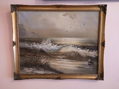 Oil Painting On Canvas ' Seascape ' Signed By H. Gailey