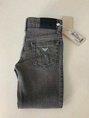 Armani Junior Kids Jeans, Size Age 5a, 112cm, Grey, Skinny, NEW, Bnwt