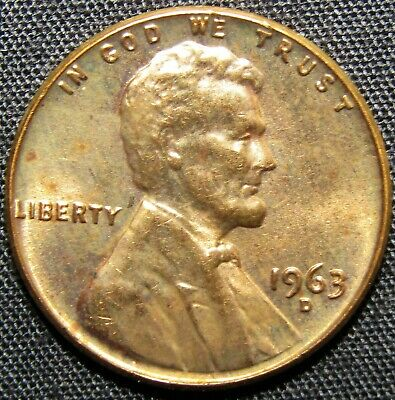 1963 D US Lincoln Memorial Penny Copper Coin