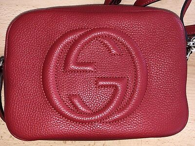 e0724bc38360 GUCCI SOHO RED DISCO LEATHER CROSSBODY SHOULDER BAG Authentic New!