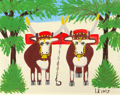 Maude Lewis two oxen Reproduction On the road to Cape Breton painting