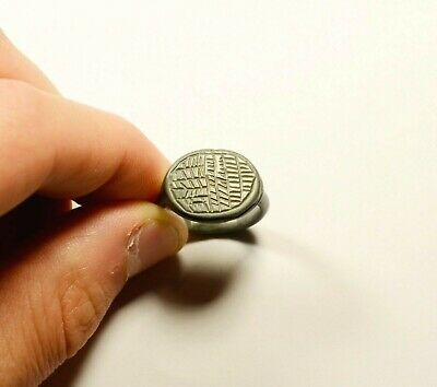 Massive Ancient Roman Billon / Bronze Ring With Decorated Bezel - Wearable