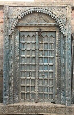 READY TO BE SHIPPED Antique pattern Door brown vintage carved 140x25x144 cm blue