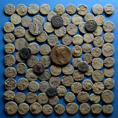 Lot of 100 Uncleaned Roman Bronze Coins #1