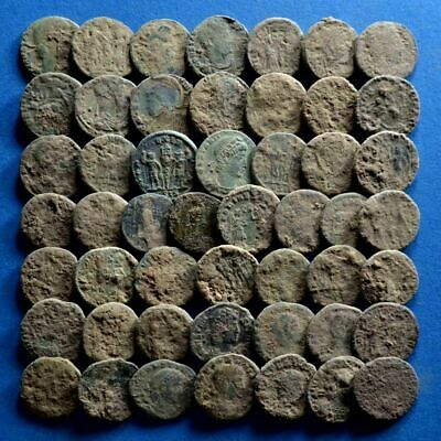 Lot of 50 AE4 Size Uncleaned Roman Bronze Coins