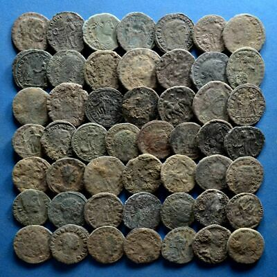 Lot of 50 AE2 Size Uncleaned Roman Bronze Coins
