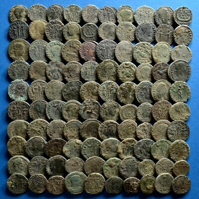 Lot of 100 AE4 Size Uncleaned Roman Bronze Coins