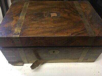 Vintage Brass Bound Mahogany Writing Slope In Serious Need Of Work
