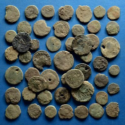 Lot of 50 Uncleaned Low Quality Roman Bronze Coins