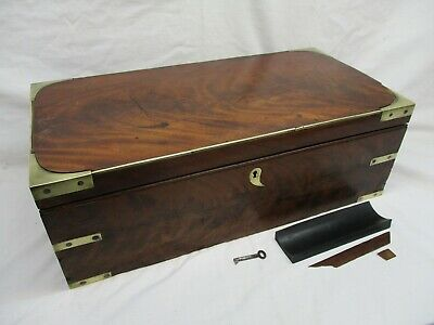 Rare Antique Campaign Writing Slope, With Key And Secret Draw, Very Large, Brass