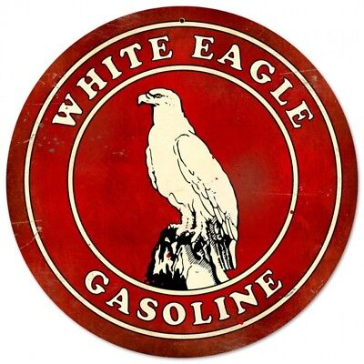 """Antique Style """"White Eagle Gasoline """" Advertising Metal Sign for Garage Man Cave"""