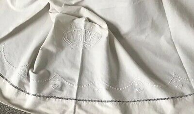 Vintage Art Deco Sheet XL Bedspread Home Loomed Embroidery Jours Chateau Boudoir