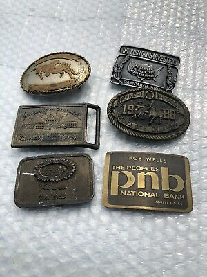 Lot Of Vintage Belt Buckles Rodeo Penitentury Farmers old rare