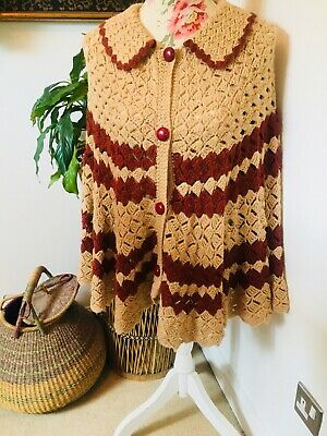 True Vintage 60s 70s Crochet Knitted Brown Cape Cardigan Shawl L XL 16 18 20
