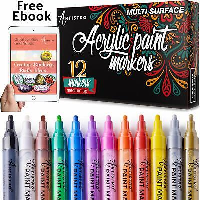 Acrylic Paint Markers for Rocks, Ceramic, Glass. Set of 12 med tip