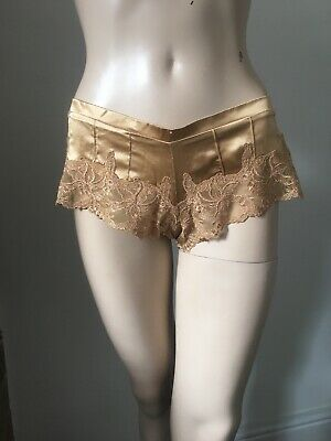 LA SENZA gold golden silk French knickers underpants pants lace vgc sexy 10 38