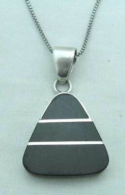 Fetching Taxco Estate Onyx Sterling 950 Silver Geometric Pendant Necklace, 24""