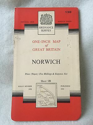 Vintage 1954 ORDNANCE SURVEY MAP OF NORWICH One-Inch map 126 Norwich (paper)