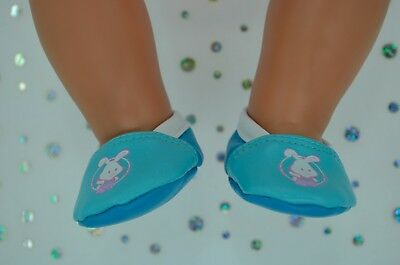 "Dolls Shoes For 17"" Baby Born CUTE AQUA/TURQUOISE SHOES"