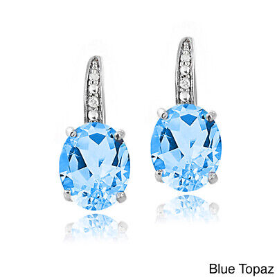 "1.1"" Genuine Swiss Blue Topaz .925 Sterling Silver Round Stud Earrings December"