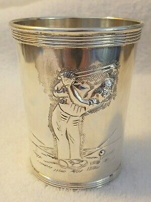 Hand Chased Sterling Silver Mint Julep Golfer Cup