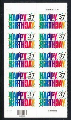 Happy Birthday USPS Stamps 2002 10x 37 cent new in packaging