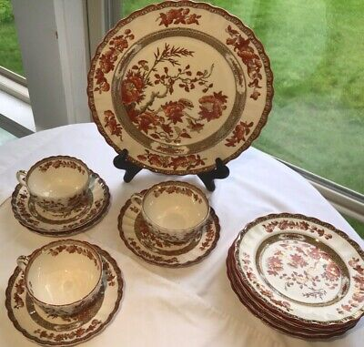 Copeland Spode India Tree china, lot of 15 plates cups saucers, Made in England