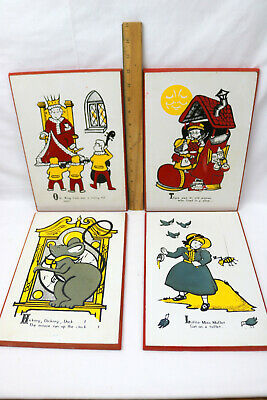 VINTAGE 4PC Lot Baby Room Decor Nursery Rhymes Wall Art Felt Accent-UNBRANDED
