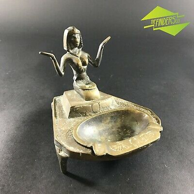 Beautiful Vintage Egyptian Cleopatra Naked Lady Cast Brass Ash Tray Tobacco