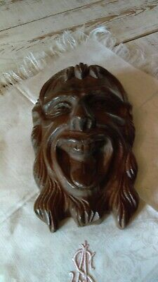 french antique: carved walnut man's head