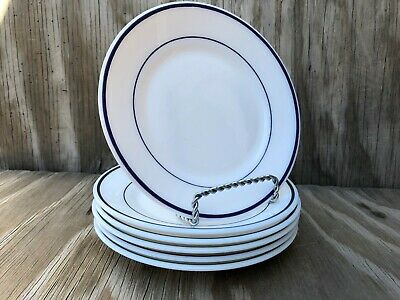 Arcopal Dishes Milk Glass Heavy Small Dessert Plates Blue Band Big Set Of 6