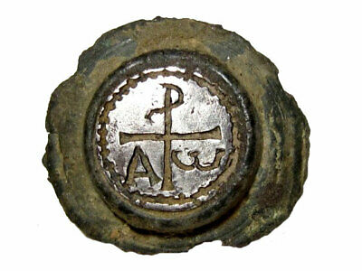 Extremely Rare Late Roman *Chi-Rho* Alpha & Omega Sign Silver Mount Applique+++