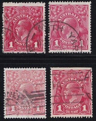 Stamps Australia - KGV 1d Red Single WM x 4 - Shades.