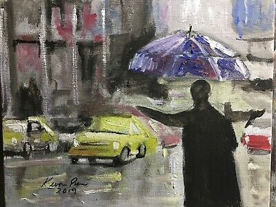 Street Oil original Art Painting 8x10 Canvas Panel Home Office GIFT  Decoration