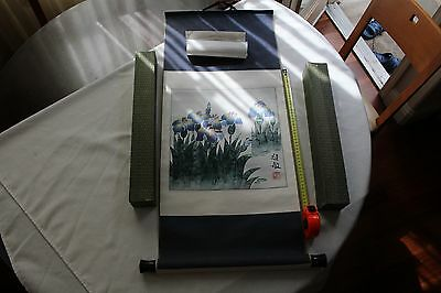 Chinese listed artist flower hand painting, signed by Fujimin