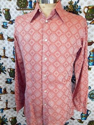 Vintage 60s 70s Coral/Salmon Pink Patterned Poly/Cotton Party Mod Dress Shirt S