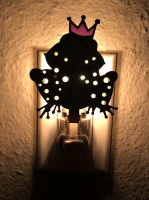 Frog Nightlight with Green and Purple Glass Inlays