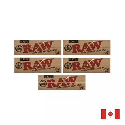 RAW Classic 1 1/4 Natural Unrefined Rolling Papers - 5 Pack Bundle