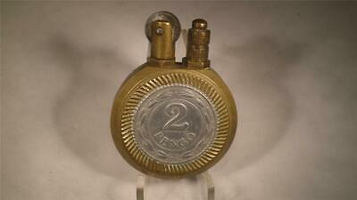 Trench Art Austria/Hungary Monarchy Antique Lighter Brass Body With 2 Pengo Coin