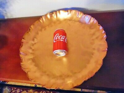 Vintage Drumgold Hammered Copper Tray Wth.wood Stand,Arts And Crafts