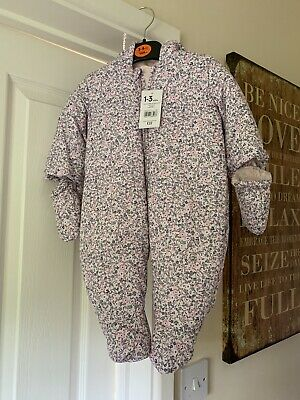 Mothercare BNWT 1-3mnth Snowsuit Floral Wity Mitts And Hood
