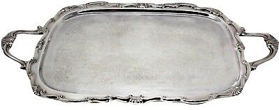 "Georgetown FB Rogers Silver Plated Footed Handle Ornate Butler Serving 23"" Tray"