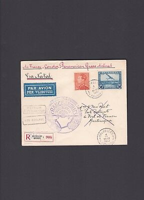 Brussels to Martinique via Natal Brazil Belgium First Flight Cover 1937 Panagra