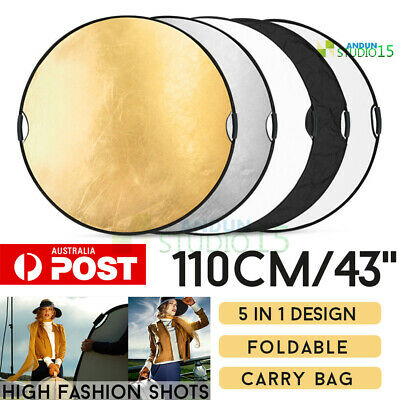 43'' 5 In 1 Studio Photography Photo Collapsible Light Reflector & Handle Grip