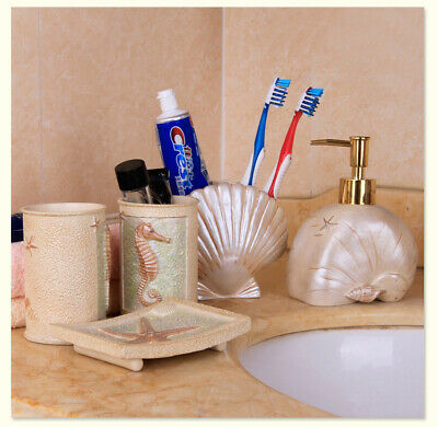 New 5pcs Resin Bathroom Beach Accessory Toothbrush Holder Soap Dish Tumbler Set